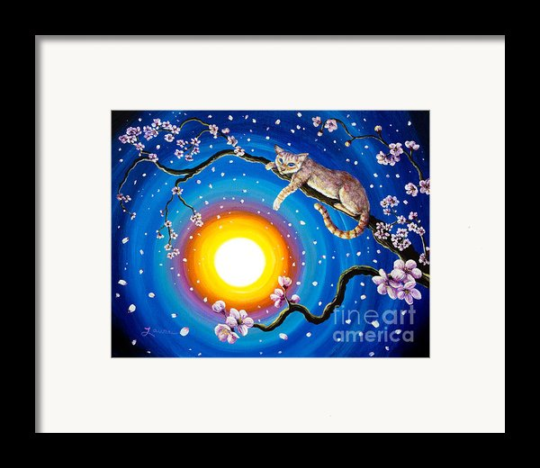 Flame Point Siamese Cat In Cherry Blossoms Framed Print By Laura Iverson