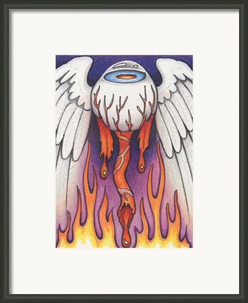 Flaming Flying Eyeball Framed Print By Amy S Turner
