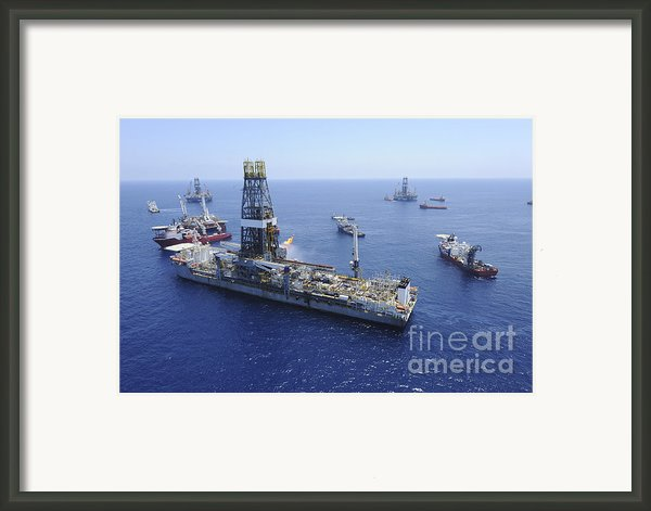 Flaring Operations Conducted Framed Print By Stocktrek Images