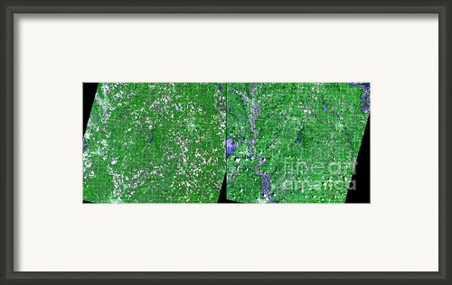 Flooding In Kansas Framed Print By Nasa