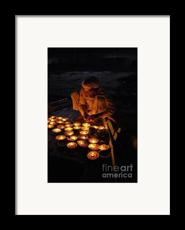 Flower Ceremony On The Ganges River Framed Print By Jen Bodendorfer