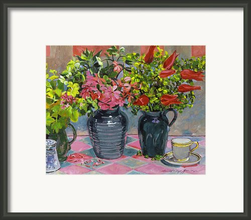 Flowers And Pitchers Framed Print By David Lloyd Glover