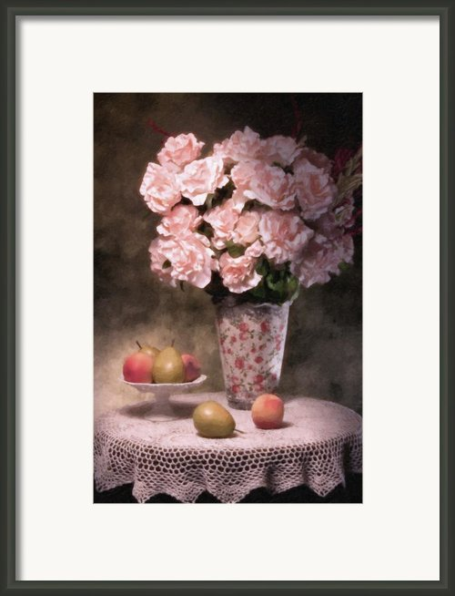 Flowers With Fruit Still Life Framed Print By Tom Mc Nemar