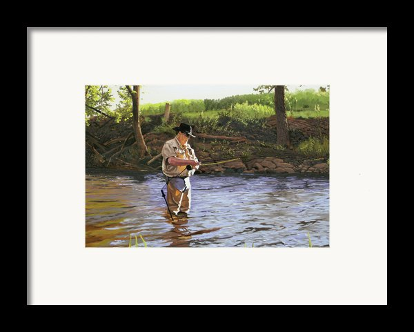 Fly Fisherman Framed Print By Kenneth Young