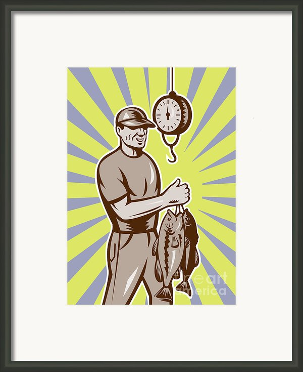 Fly Fisherman Weighing In Fish Catch  Framed Print By Aloysius Patrimonio