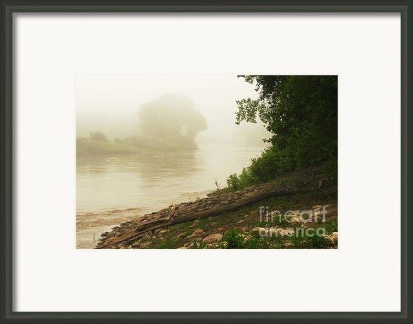 Fog Along The Red Framed Print By Steve Augustin