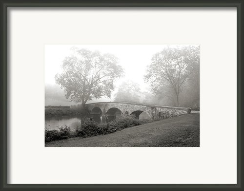 Foggy Morning At Burnside Bridge Framed Print By Judi Quelland