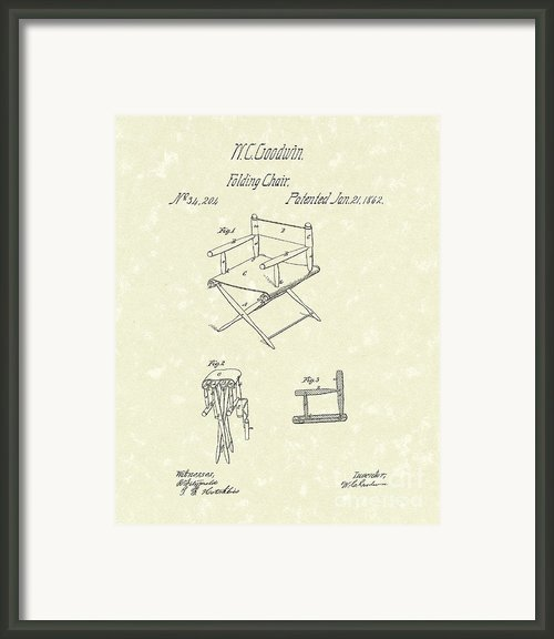 Folding Chair 1862 Patent Art  Framed Print By Prior Art Design