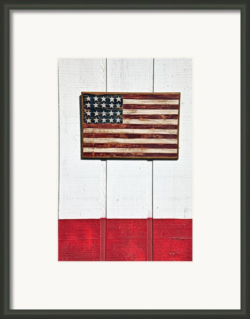 Folk Art American Flag On Wooden Wall Framed Print By Garry Gay