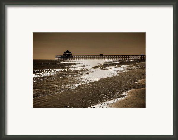 Folly Pier Sunset Framed Print By Drew Castelhano
