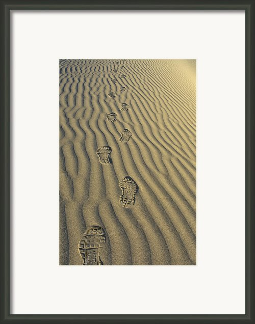 Footprints In The Sand Framed Print By Joe  Palermo