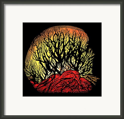 Forest Fire, Lino Print Framed Print By Gary Hincks