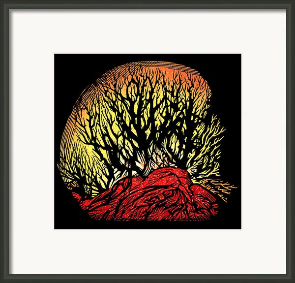 Forest Fire, Lino Print Framed Print By Gary Hincks