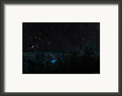Fort Collins Colorado At Night Framed Print By Ric Soulen