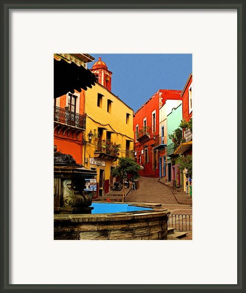 Fountain Plaza Framed Print By Olden Mexico