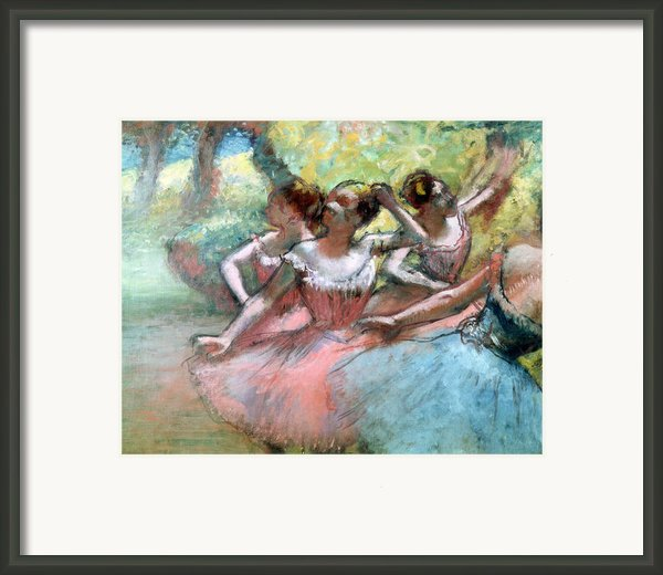 Four Ballerinas On The Stage Framed Print By Edgar Degas