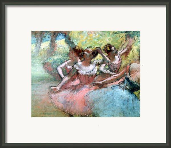 Four Ballerinas On The Stage Framed Print By Edgar Degas