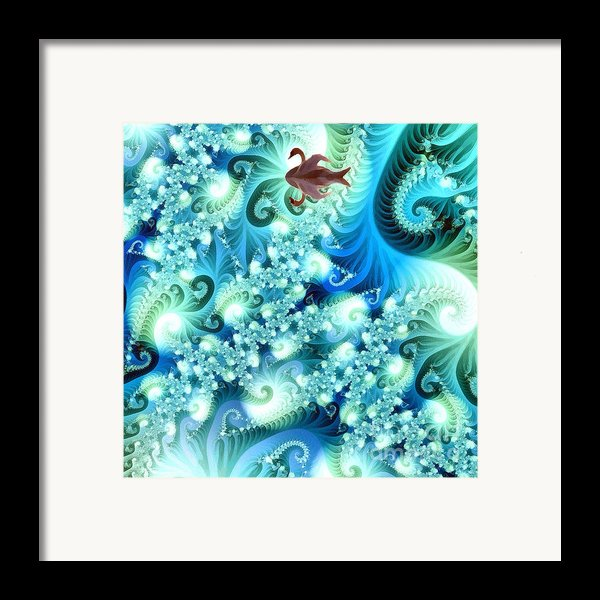 Fractal And Swan Framed Print By Odon Czintos