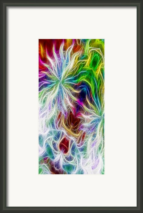 Fractal Flowers With Filter Effect - Vertical Framed Print By Gina Manley