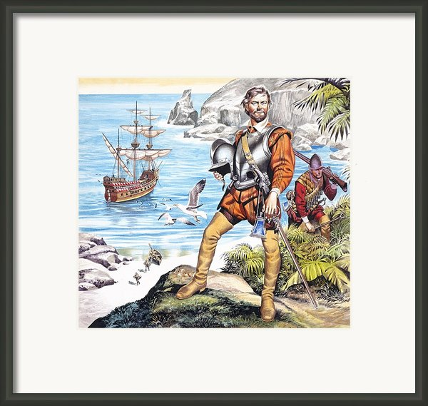 Francis Drake And The Golden Hind Framed Print By Ron Embleton
