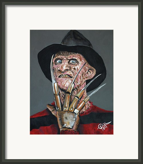 Freddy Kruger Framed Print By Tom Carlton