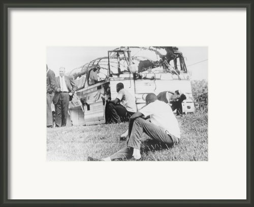 Freedom Riders Bus Was Destroyed Framed Print By Everett