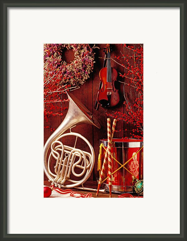French Horn Christmas Still Life Framed Print By Garry Gay