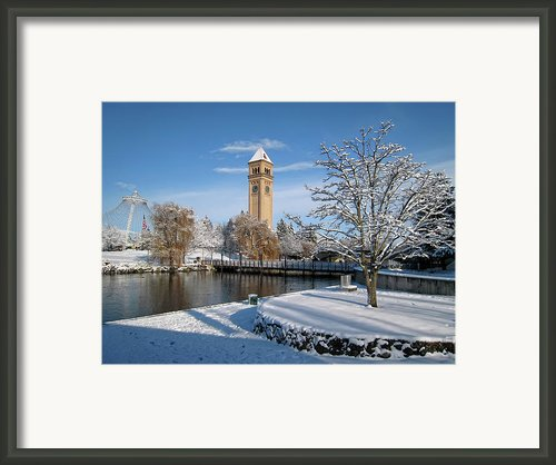 Fresh Snow In Riverfront Park - Spokane Washington Framed Print By Daniel Hagerman