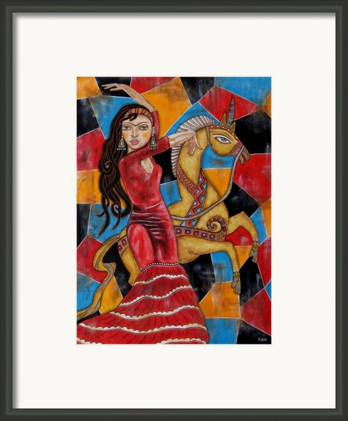 Frida Kahlo Dancing With The Unicorn Framed Print By Rain Ririn