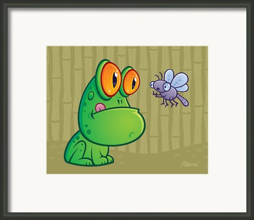 Frog And Dragonfly Framed Print By John Schwegel