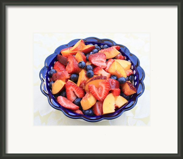 Fruit Salad In Blue Bowl Framed Print By Carol Groenen