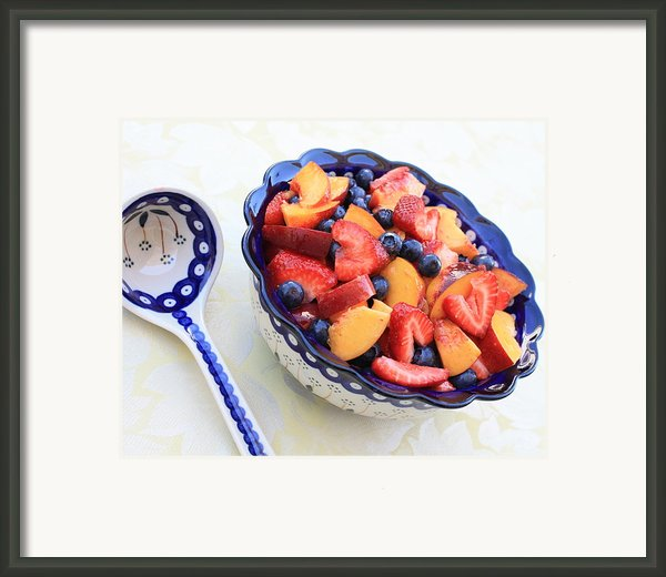 Fruit Salad With Spoon Framed Print By Carol Groenen
