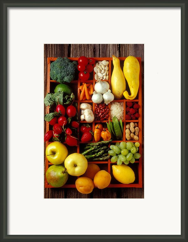 Fruits And Vegetables In Compartments Framed Print By Garry Gay