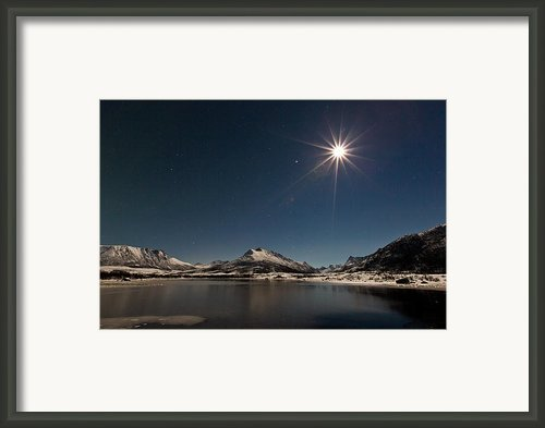 Full Moon In The Arctic Framed Print By Frank Olsen