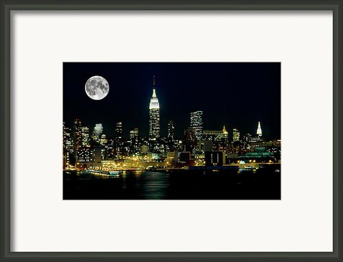 Full Moon Rising - New York City Framed Print By Anthony Sacco