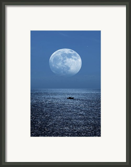 Full Moon Rising Over The Sea Framed Print By Detlev Van Ravenswaay
