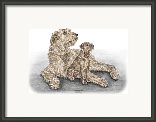 Full Of Promise - Irish Wolfhound Dog Print Color Tinted Framed Print By Kelli Swan