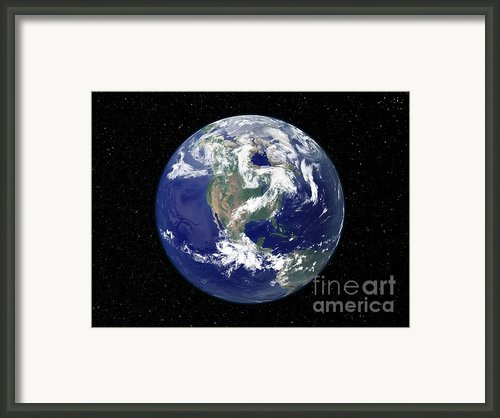 Fully Lit Earth Centered On North Framed Print By Stocktrek Images