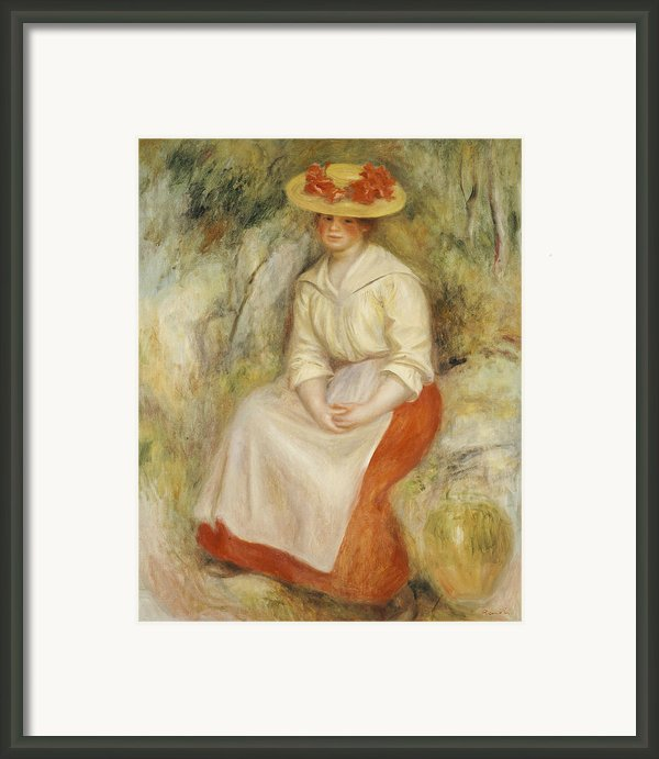 Gabrielle In A Straw Hat Framed Print By Pierre Auguste Renoir