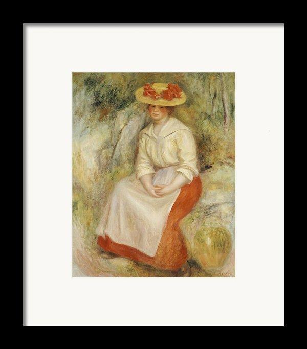 Gabrielle In A Straw Hat Framed Print By Pierre Auguste Renoir