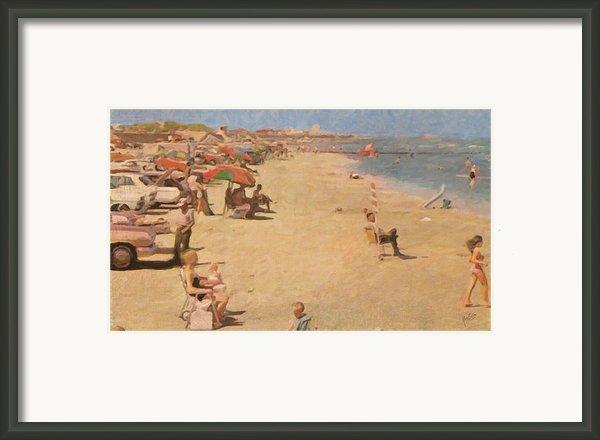 Galveston Beach In Texas Framed Print By Nop Briex