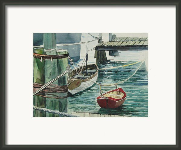 Galveston Boats Watercolor Framed Print By Judy Loper