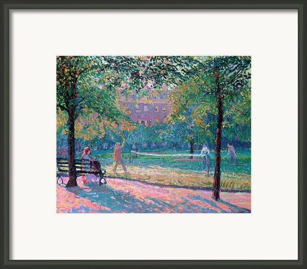 Game Of Tennis Framed Print By Spencer Frederick Gore