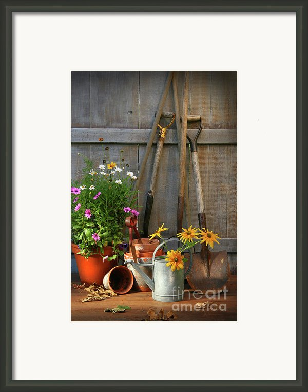 Garden Shed With Tools And Pots  Framed Print By Sandra Cunningham