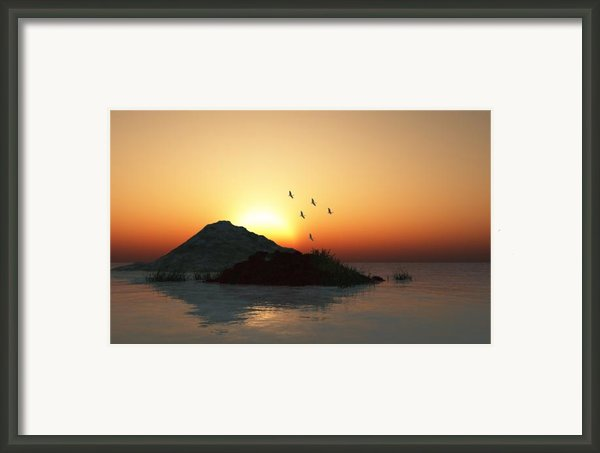 Geese And Sunset Framed Print By David Lane