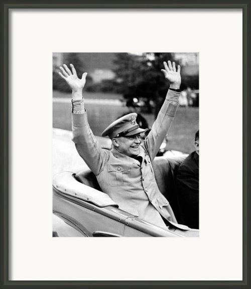 General Dwight Eisenhower Raises Both Framed Print By Everett