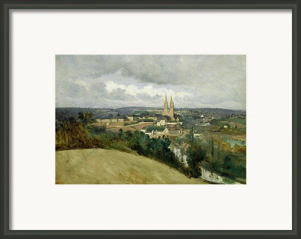General View Of The Town Of Saint Lo Framed Print By Jean Corot