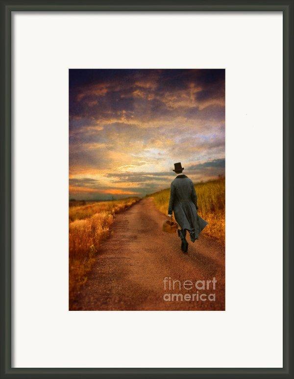 Gentleman Walking On Rural Road Framed Print By Jill Battaglia
