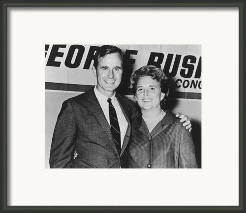 George And Barbara Bush In Houston Framed Print By Everett