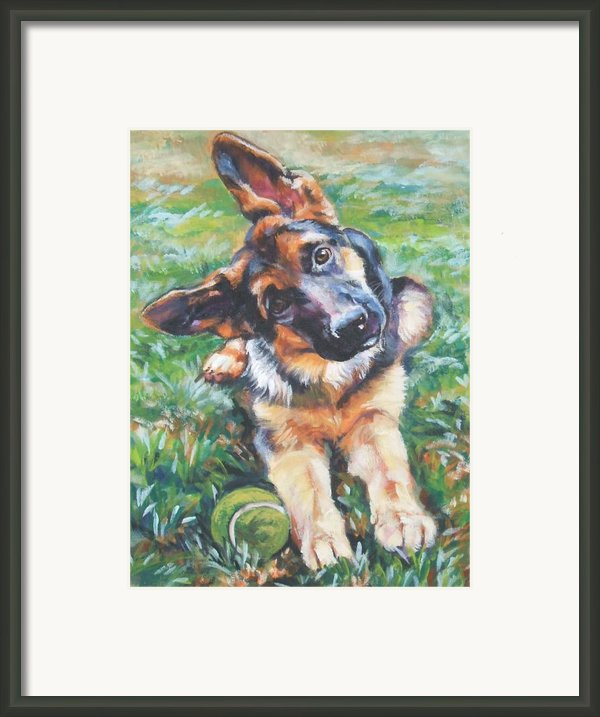 German Shepherd Pup With Ball Framed Print By L A Shepard